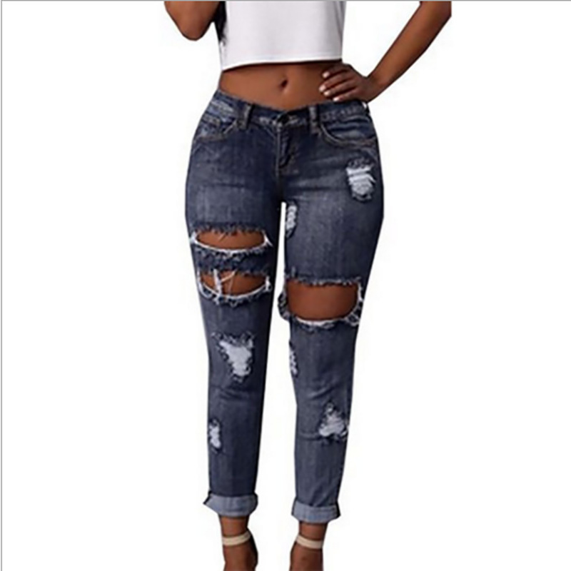 ForeMode 2017 Spring Summer Women  Fashion Denim Pencil Jeans Female Ripped Hole Pants Ladies Jeans BlackОдежда и ак�е��уары<br><br><br>Aliexpress