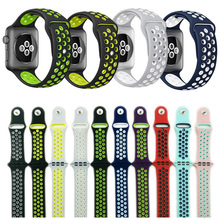 38mm 42mm watchband for NIKE series 1:1 original with Light Flexible Breathable silicone watch strap band for apple watch(China)