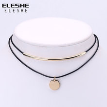 ELESHE Boho Choker Gold Coins Pendant Shell Choker Necklace Women Jewelry Black Velvet Leather Chockers Necklaces Collier Femme(China)