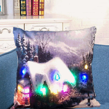 Cushion Cover LED Merry Christmas Glow Throw Colorful LED Light Pillow Case Super Soft Pillowcase For Sofa Battery Not Included