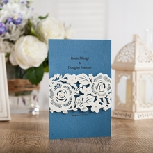 WISHMADE Wedding Invitations 50pcs Free Shipping Blue Laser Cut Cards Printable Engagement & Party Invites AW7019(China)