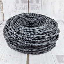 3x0.75 Vintage fabric Wire Twisted Cable Retro Braided Electrical Wire DIY pendant lamp wire double insulated vintage lamp cord(China)