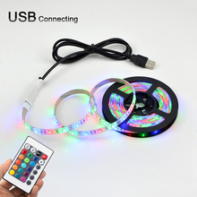 LED SMD3528 60leds/m 5V Color Changing Flexible Rope Strip 0.5m-5m for PC,TV Backlight Lights with IR controller + USB cable Kit(China)