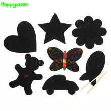 Happyxuan 21pcs/pack Funny DIY Black Magic Color Scratch Art Paper Painting Scrapping Drawing Cards Love heart Star Toys Kids
