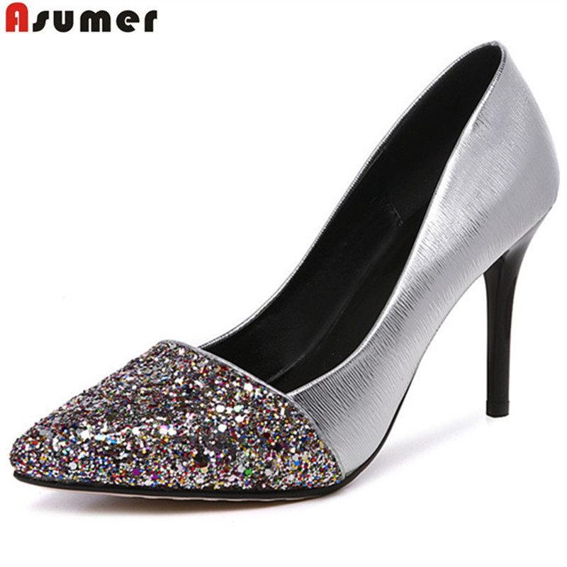 Asumer 2017 hot sale new arrive women pumps fashion pointed thin heels single shoes elegant shallow lady wedding shoes<br>
