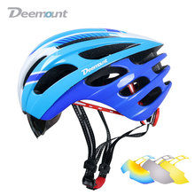Deemount Cycling Helmet Bicycle MTB Mountain Road Biking Safety Cap W/H Goggle Lens Mesh Net In-mold 27 cavities PC EPS foam