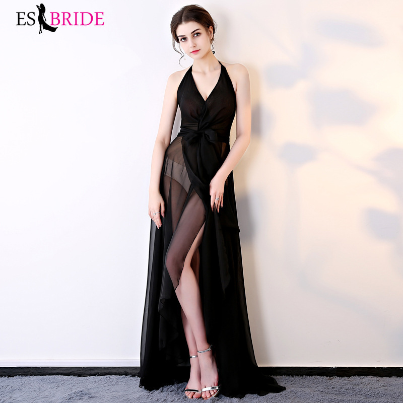 Fashion  Robe De Soiree Sexy V-neck A-line Sleeveless Lace Teal Evening Dresses Long 2019 Elegant Wedding Guest Gowns ES1338