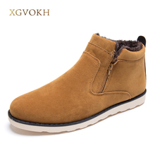 XGVOKH plus Size 37-47 winter boots men warm shoes snow Casual with short plush ankle boots high top rubber zipper men shoes(China)