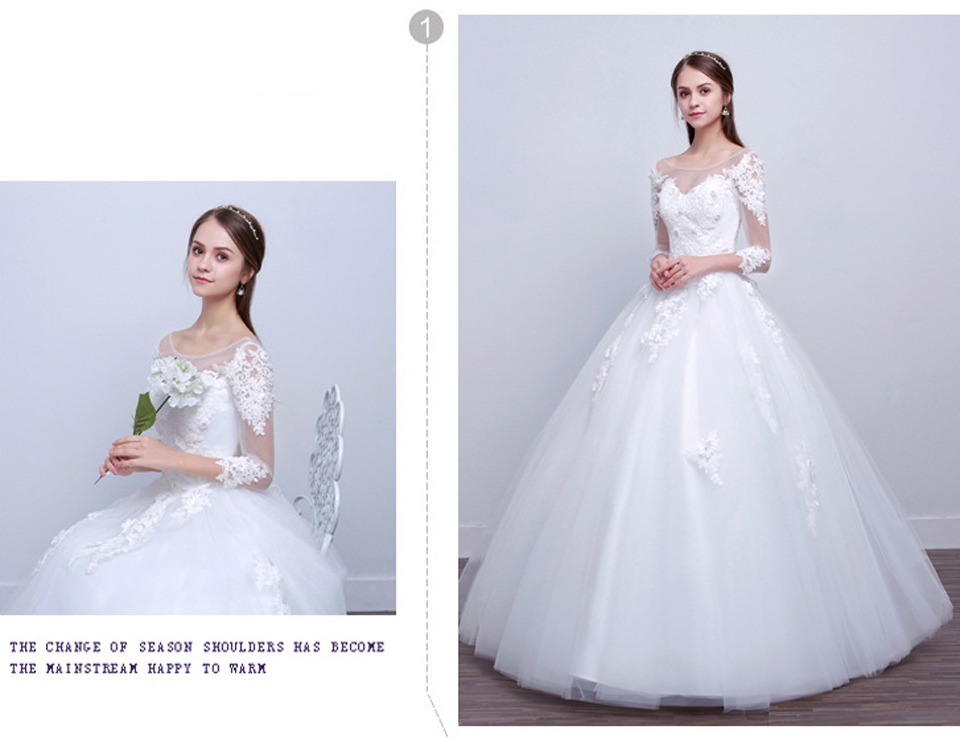 LAMYA Real Photo Princess Elegant Wedding Dresses With Long Lace Sleeve High Quality Ball Gown Bridal Gowns Vestidos De Noiva 2