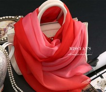 Red Pink Color Gradient Scarf Brand Names Women 100% Pure Silk Headband Magic muslim underscarf Fashion Summer Scarf Silk Shawl