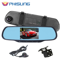 3 Cameras Android Bluetooth Car DVR FHD 1080P GPS RAM 1GB dash cam rearview mirror camera DVR with three cameras Phisung Q9