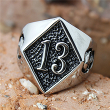 Size 7 to 16 Band Party 316L Stainless steel Polishing Silver Biker 13 Ring Cool Skull Biker Ring(China)