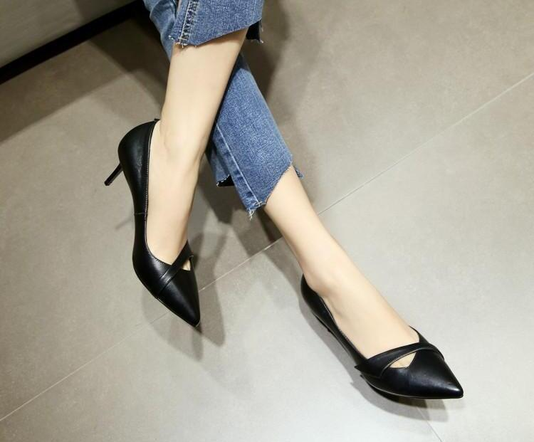 Brand Pointed Toe Women Pumps High Thin Heel Stiletto Shallow Chic Lady Office Dress Shoes Chaussures Femmes Runway Star Shoes