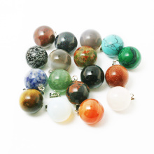 14mm 1pc Round Ball Natural Stone Pendants Charms Pendants For Jewelry Making Necklace Pendants DIY Women(China)