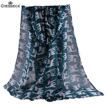 CHESSIECA Summer Animal Scarf For Women Lovely Cat Design Big Pashmina Air Conditioning Shawl Scarve Sjaal Luxe Merk Vrouw Schal