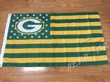 Helmet Stars and Stripes Flag banner 3x5ft NFL Green Bay Packers American flag 150x90 cm 100D Free Shipping(China)