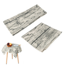 Retro Wood Striped Table Cloth Cover Cotton Linen Fabric Tablecloth Dining Table For Picnic Party Home Kitchen Decoration