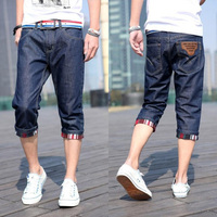 Summer thin men's clothing denim shorts straight male casual capris knee-length slim capris pants male