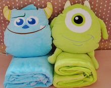 Plush 1 set 100*75cm cartoon Monster university sleep rest coral fleece air conditioning baby blanket + cushion gift stuffed toy