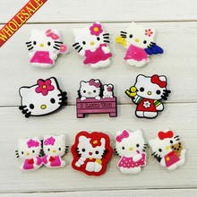 Wholsale Novelty 100PCS Hello Kitty Cartoon PVC Shoe Charms,Shoe Accessories,Christmas Gifts,Fit for Jibz Wristbands with holes