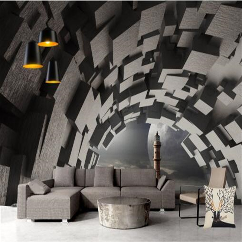 Custom Mural 3D Space Extension Wallpaper for Walls 3D Geometric Wall Brick Pattern Wall Covering Living Room Home Decor Vintage<br>