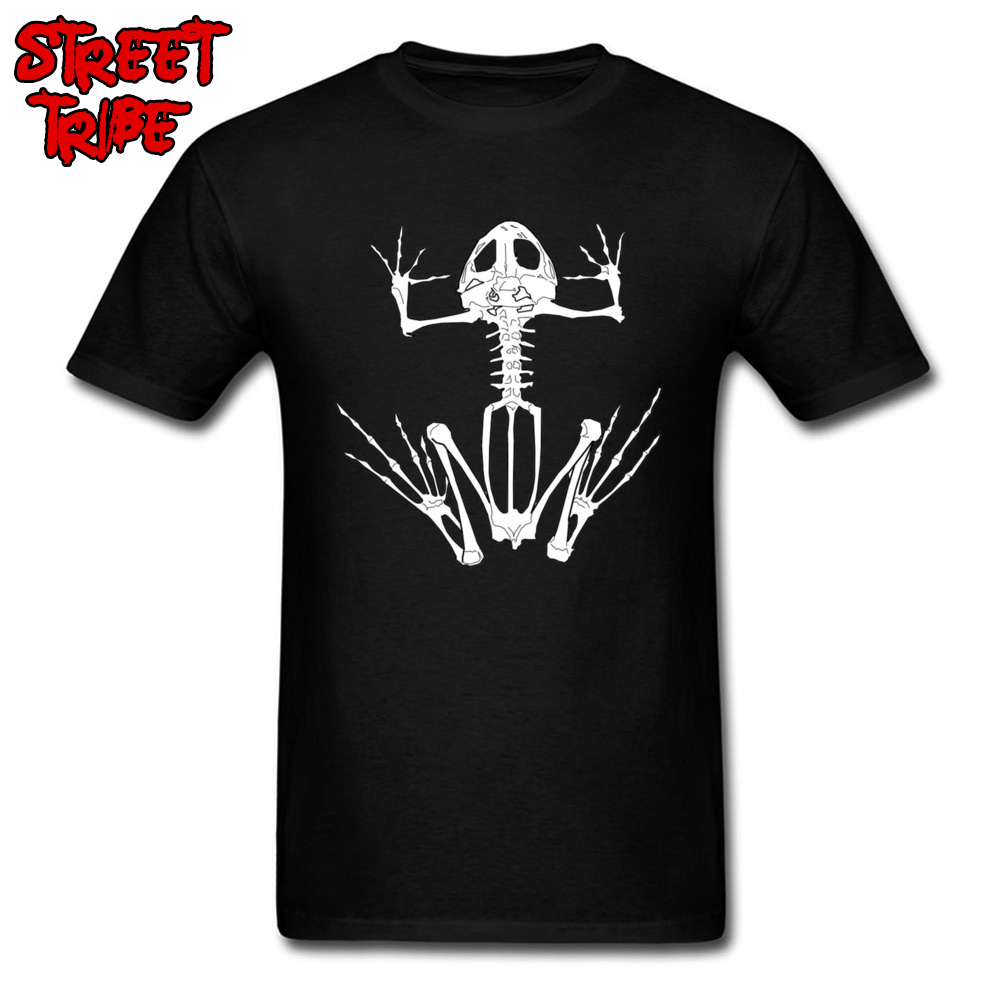 Frog Skeleton 13000 Normal Fall Pure Cotton O-Neck Men Tops Shirt Unique Sweatshirts Company Short Sleeve Top T-shirts Frog Skeleton 13000 black