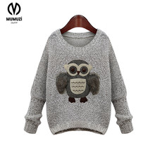 christmas 2017 new Arrival Owl Pattern Sweater Fashion Streetwear Pullover Tops Autumn Winter New Gray Knitted Sweater Outerwear(China)