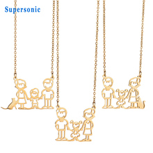 New Design Family Love Jewelry Boy Girl And Pet Pendant Necklace Stainless Steel Family Necklace Dad Gift