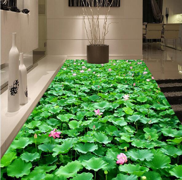 Lotus flower Self Adhesive floor Mural for Kitchen Bathroom Murals 3D PVC flooring Roll Wallpaper 3 d Wall Paper Papier Sticker <br>