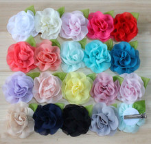 "2.3"" new coming chiffon flower with clips DIY hair acessory headbands 18color flat back"