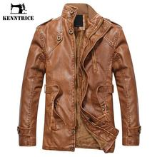 Kenntice Winter England Style Leather Jackets With Belt Men's Classic Leather Coat Causal Parka Men Moto Biker Jacket Brown(China)