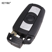 KEYYOU 2pcs 3 Button Remote Key Case for BMW 1 3 5 6 Series Smart Key Shell Blade Fob E90 E91 E92 E60 WITH LOGO