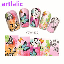 1 sheet Water Transfer Nail Art Sticker Decal Plum Flower Butterfly 3D Print Manicure Tips DIY Nail Foils Decorations 1379(China)