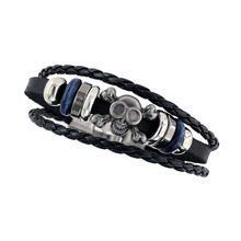 Vintage Silver Color Skull Head Black Leather Bracelets Wristband Simple Beaded Jewelry Charm Bracelet Cuir For Men Punk Style(China)