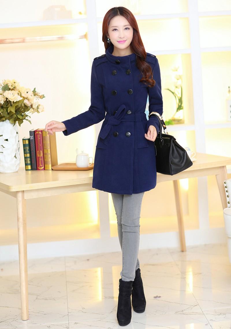 2016 New Women Trench Woolen Coat Winter Slim Double Breasted Overcoat (9)