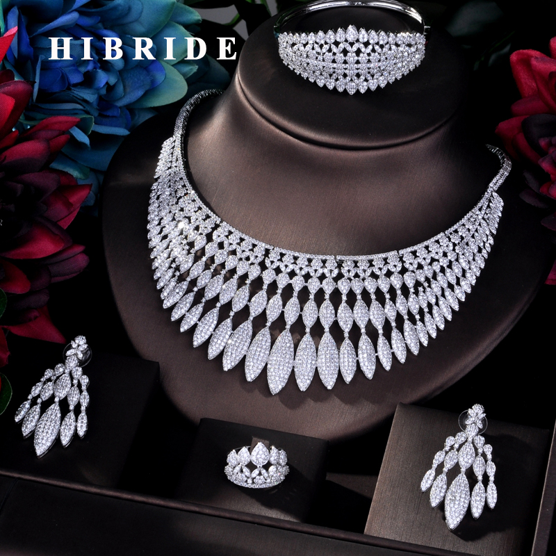 HIBRIDE New Luxury Design AAA Micro AAA Cubic Zircon Bridal Big Jewelry Sets For Women Wedding Party Accessories Jewelry N-771