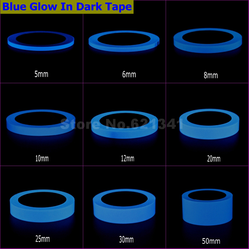 Blue Glow In Dark Wall Sticker Luminous Photoluminescent Self-adhesive Tape Stage Home Decoration 6~8h Glow 5mm ~ 50mm x 10Meter(China (Mainland))