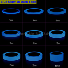 Blue Glow In Dark Wall Sticker Luminous Photoluminescent Self-adhesive Tape Stage Home Decoration 6~8h Glow 5mm ~ 50mm x 10Meter(China)