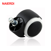"NAIERDI 5pcs 50KG Universal Mute Wheel 2"" Replacement Office Chair Swivel Caster Rubber Rolling Roller Wheels Furniture Hardware(China)"