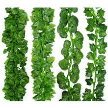 2M Long Artificial Plants Green Ivy Leaves Artificial Grape Vine Fake Parthenocissus Foliage Leaves Home Wedding Bar Decoration(China)