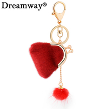Lovely rabbit fur purse keychain girl Coin Purse collection bag keyring women handbag charm pendant hanger car key chains(China)
