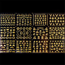BORN PRETTY 1 Sheet 12pcs Gold 3D Nail Sticker Heart Crown Bowknot Butterfly Flower Patterns Nail Art Decoration Stickers