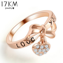 17KM Romantic Gift Retro Love Heart Bow Rings Rose Gold Color wedding Austrian Crystal Element Rings Word Ring For Women