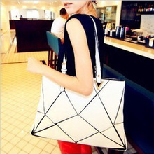 Women Shoudler Bag Europe Personalized Fashion Stitching Water Cube Diamond Lattice Bag Ladies Big PU Handbag Female  New 49