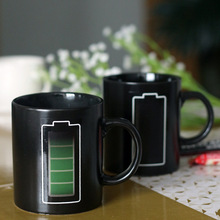 Coffee Cups Battery Power Consumption Thermochromic Ceramic Mugs - Black (200mL)(China)
