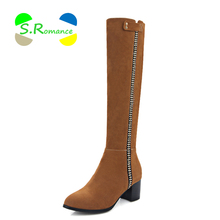 Women Boots Knee-High Plus Size 34-43 Side Rhinestone Line Square Heels Zip High Quality Nubuck PU Women's Shoes S.Romance SB514