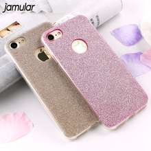 JAMULAR Ultra Thin Glitter Bling Cover Case For iPhone 6 6S 7 Plus 5s SE Soft Silicone Phone Cases for iPhone 7 8 Plus X Covers(China)