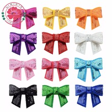 FreeShipping 12colors Girls Headwear  24pcs Mini Embroideried Sequin Bows For DIY Headbands,Hair Accessories Boutique 562