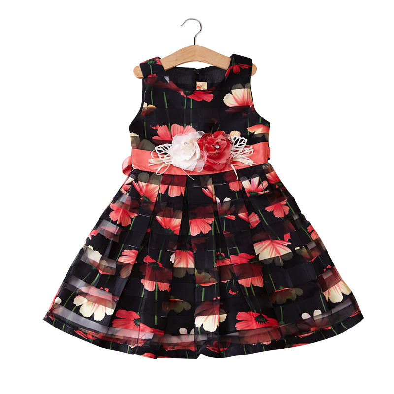 children girls summer floral overlay print flower belted sleeveless princess party dresses kids fashion vest flare dress clothes<br><br>Aliexpress