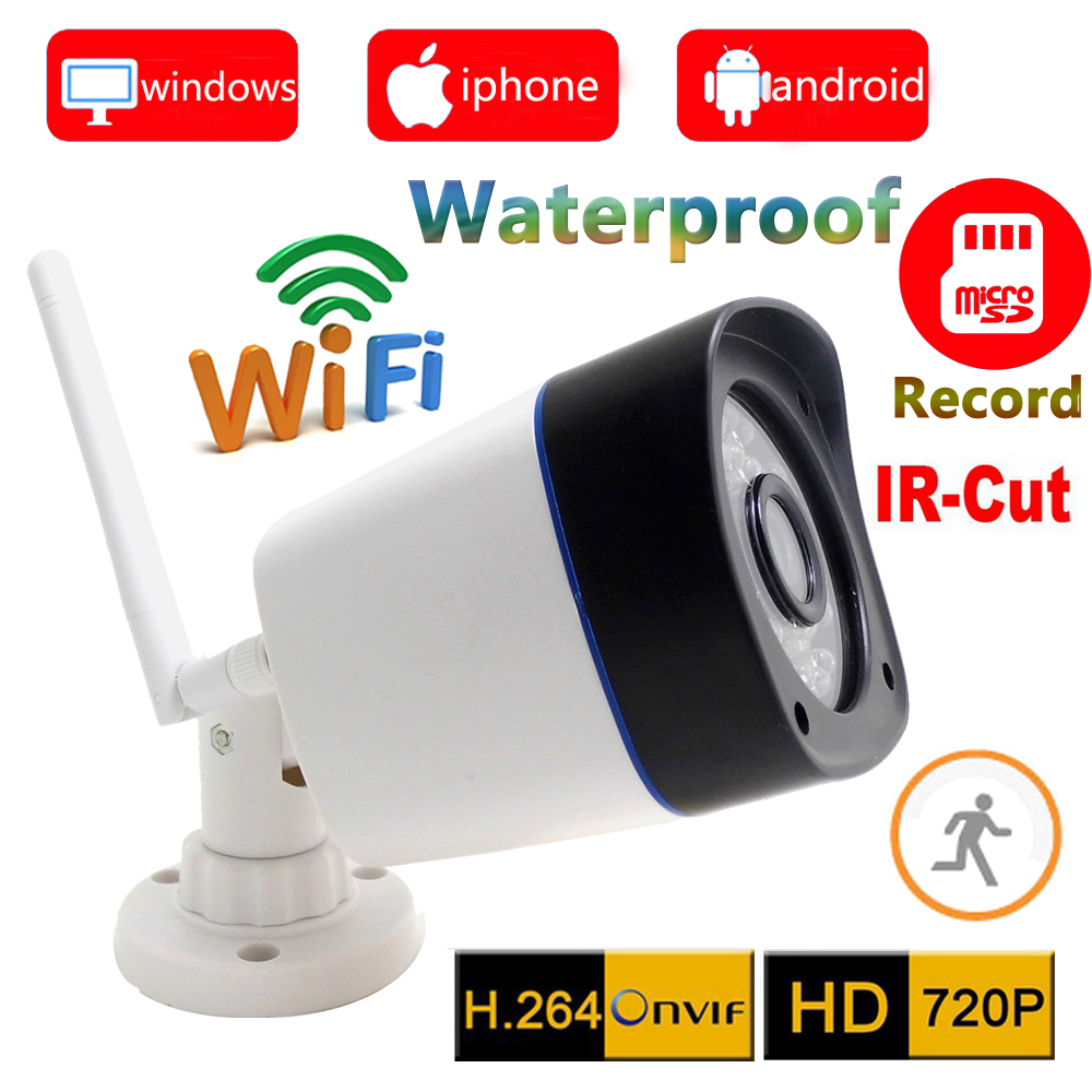 720p ip camera wifi wireless outdoor waterproof weatherproof cctv security system support micro sd Card record ipcam home cam<br>